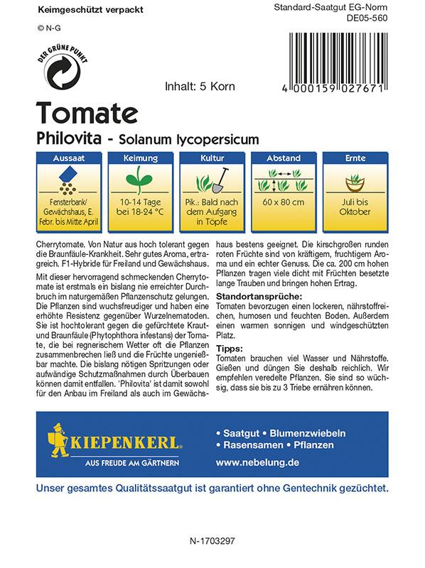 Zwei Tüten Tomate MHD 01//22 Cherrytomate Kiepenkerl 2767 Philovita F1