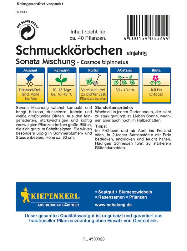Mischung Sonata MHD 01//21 Cosmea Cosmos Kiepenkerl 3524 Schmuckkörbchen